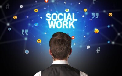 Rear view of a businessman with SOCIAL WORK inscription, social networking concept