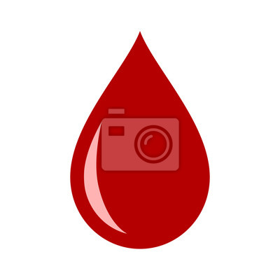 Bild Red blood drop / droplet flat vector icon for medical apps and websites