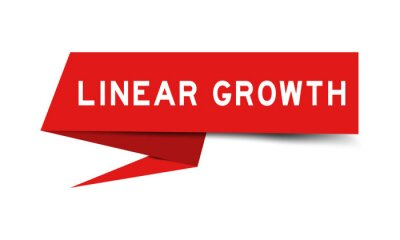 Bild Red color paper speech banner with word linear growth on white background