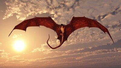 Red Dragon Offensives von einem Sonnenuntergang Himmel