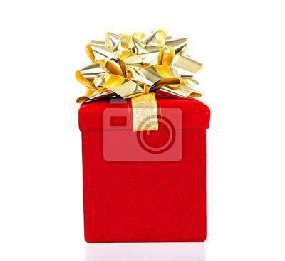 Red Geschenk-Box mit goldenen Bogen für alle Anlässe Isoliert auf Weiß