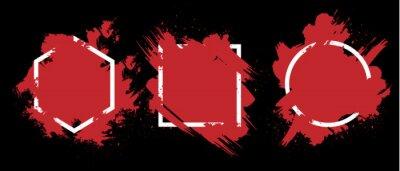 Bild Red grunge with frame vector, Collection of Grunge background, Spray Paint Elements, Black splashes set, Dirty artistic design elements, ink brush strokes, Vector illustration.