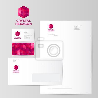 Red Kristall Hexagon Logo Identität Blank Umschlag