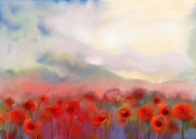 Bild Red poppy flowers filed  watercolor painting