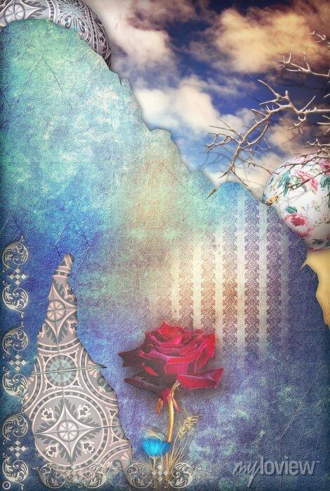 Bild Red rose in the blue starry sky