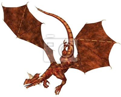 Red Scaled Drache Swooping zu Angriffswert