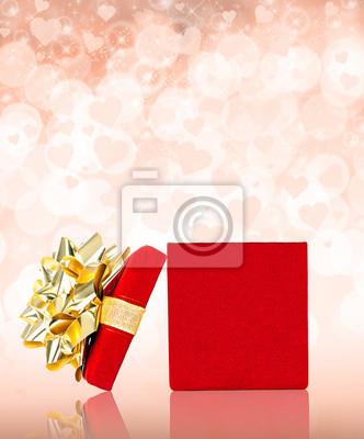 Red Valentinstag Geschenk mit Herz-Hintergrund