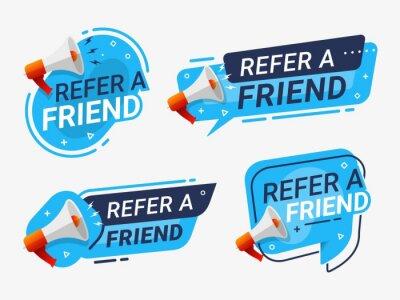 Bild Refer a friend banner label badge set. referral program vector illustration