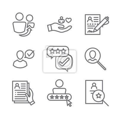 Bild Referral Job Reference Icon Set with recommendations, performance review, etc