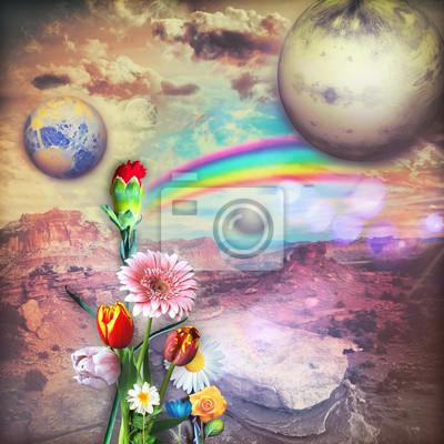 Regenbogen im Sonnenaufgang mit bunten Blumen