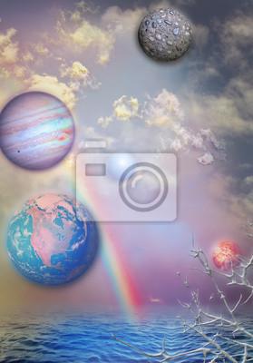 Regenbogen, Planeten und Vollmond im Meer
