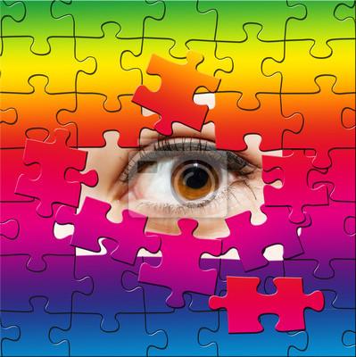 Regenbogen Puzzle Auge