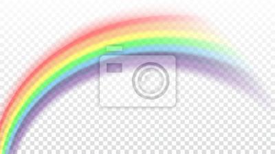 Bild Regenbogen-Symbol. Formbogen realistisch lokalisiert auf weißem transparentem Hintergrund. Buntes helles und helles Gestaltungselement. Symbol des Regens, des Himmels, der freien Natur. Grafikobjekt V