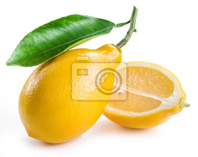 Bild Reife Zitrone Früchte auf dem weißen Hintergrund.