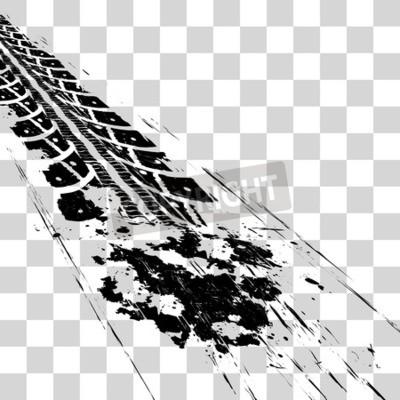 Bild Reifenspuren. Vektorillustration onon karierter Hintergrund