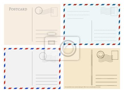 Bild Reise Postkarte Vorlagen. Grußpostkarten-Rückseiten-Vektorsatz