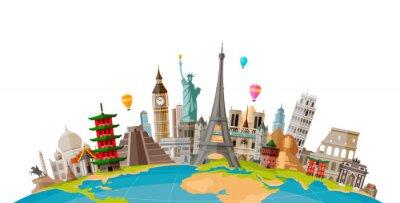 Bild Reise, Reisekonzept. Berühmte Denkmäler der Weltländer. Vektor-Illustration