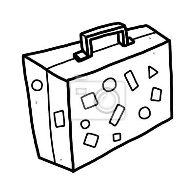 Reise tasche cartoon vektor und illustration, schwarz und