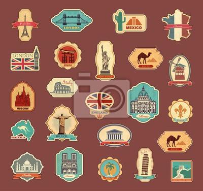 Reiseaufkleber und Symbole verschiedene Länder