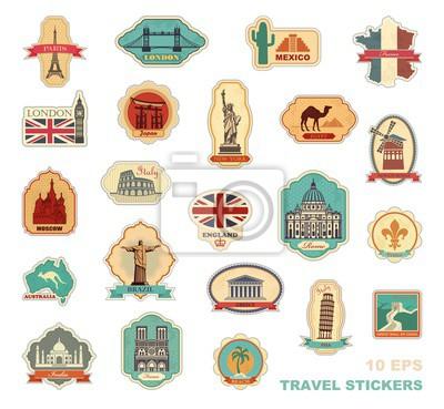 Reisen Sie Aufkleber und Symbole in verschiedenen Ländern
