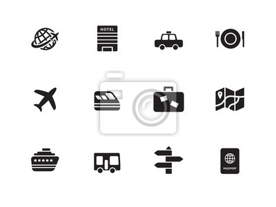 Reisen-Symbole auf weißem Hintergrund.