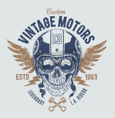 Bild Reiter-Schädel mit Retro-Racer-Attribute. Grunge-Druck. Vintage-Stil. Vektor kunst