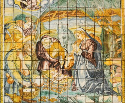 Bild Religiöse Fliesen, Krippe, Lissabon, Portugal