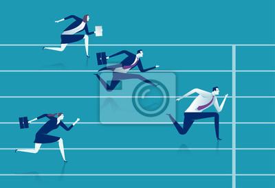 Bild Rennen. Geschäftsleute laufen die Strecke. Geschäftsvektorabbildung