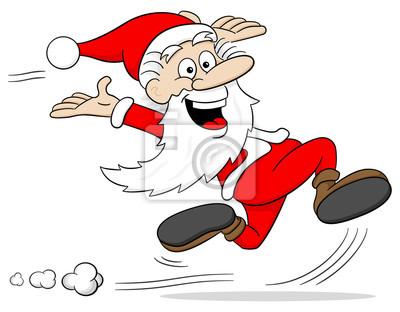 Rennender Cartoon Weihnachtsmann Leinwandbilder Bilder