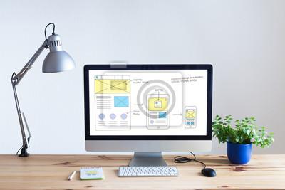 Bild Responsive Web-Design-Website Wireframe Skizze Layout auf Computer-Bildschirm
