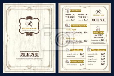 Restaurant oder café-menü-design-vorlage mit vintage-retro-art-deco ...