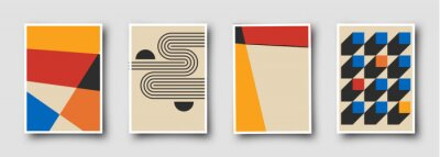 Bild Retro 60s-70s graphic design covers. Cool vintage shape compositions. Trendy colorful bauhaus art templates.