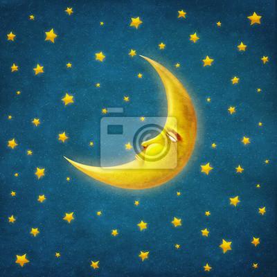 Retro Abbildung der Nachtzeit mit Sternen und Mond, Hintergrundkunst