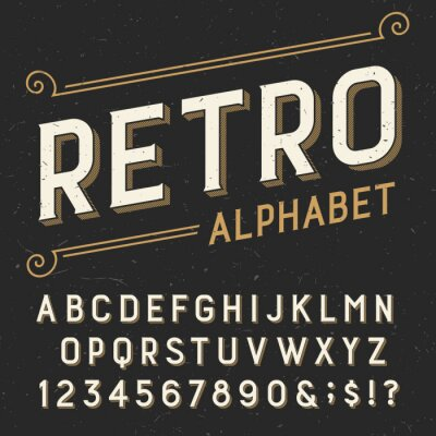 Bild Retro alphabet vector font. Serif type letters, numbers and symbols. on a dark distressed scratched background. Stock vector typography for labels, headlines, posters etc.