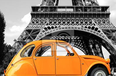 Bild Retro Auto orange Farbe Reinheit in der Straße