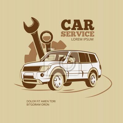 Bild Retro-Auto-Service-Vektor-Poster. Auto-Auto-Service, Emblem Auto-Service, Logo Auto Service Abbildung