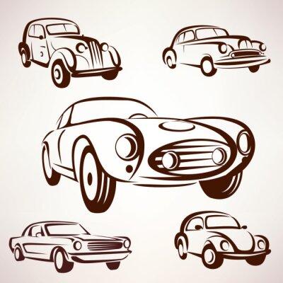 Bild Retro-Autos Vektor-Sammlung deign Elemente für Etiketten und emble