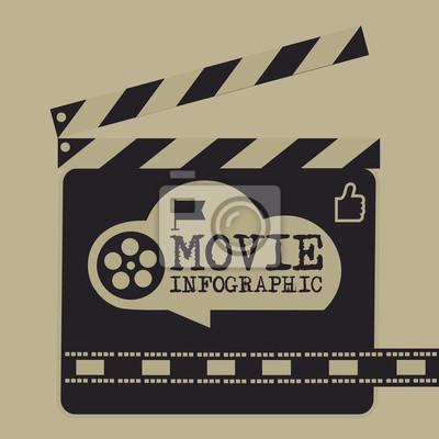 Retro-film-vorlage, media-player, flache design, illustration ...