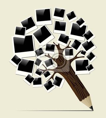 Retro Instant Foto Konzept Bleistift Baum Leinwandbilder Bilder