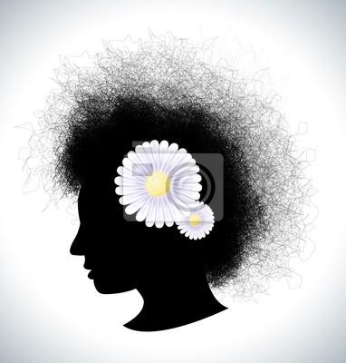 Retro Mädchen Silhouette mit Haarspange