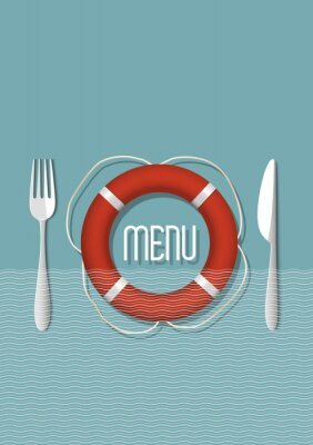 Bild Retro-Menü-Design für Meeresfrüchte-Restaurant - Variation 5