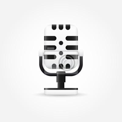 Retro mikrofon-symbol leinwandbilder • bilder Membran, vocal ...