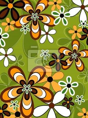 Bild Retro-orange und grün Flower Power