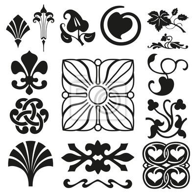 Retro Ornamente Sammlung Leinwandbilder Bilder Nubes Drucker
