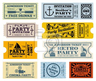 Retro partei, kino, einladung vektor-tickets gesetzt. einladung ...