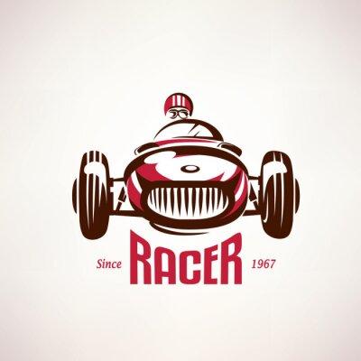 Bild retro race car, vintage vector symbol, emblem, label template