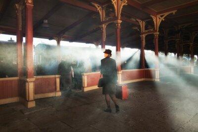 Bild retro railway station and smoke of train