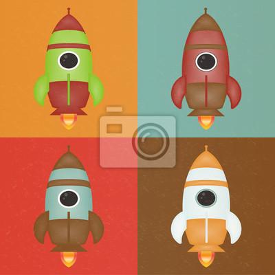 Retro Rocket Set Vector Illustration.