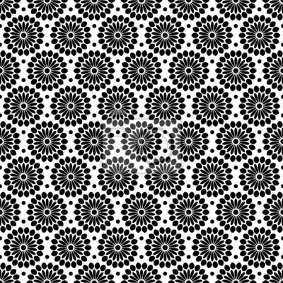 Retro Seamless Pattern Flowers Schwarz Weiß Leinwandbilder Bilder Geschenkpapier Token Geometrischen Myloview De