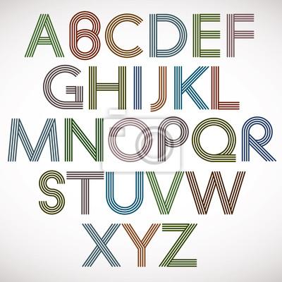 Retro Stil Alphabet, Buchstaben gestreiften Vektor Schriftbild.